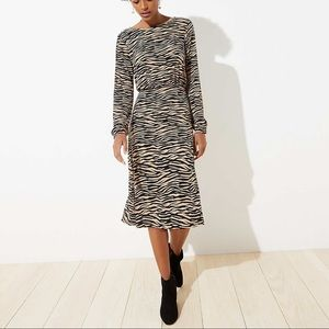 Loft long sleeve Tiger Stripe Bar Back knit dress